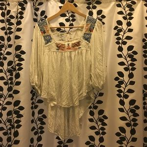 Free people hi-lo embroidered peasant blouse