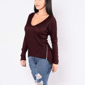 Fashion nova Sac Town Sweater Burgundy