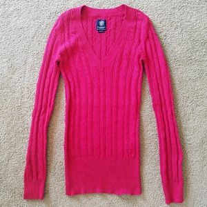 American Eagle red cable knit v-neck sweater