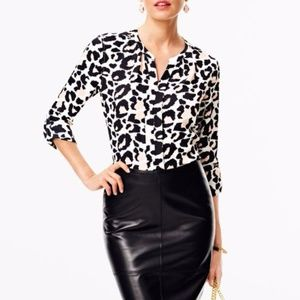 Leopard Navy and Pink Career Blouse