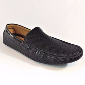 Miko Lotti Driving Shoes Loafers Slip On Woven Blk