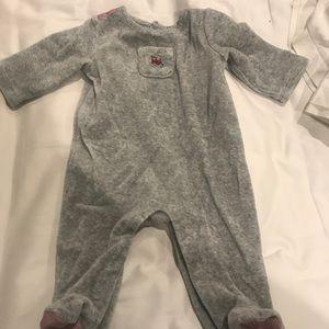 Janie and Jack gray fleece pajamas /footies