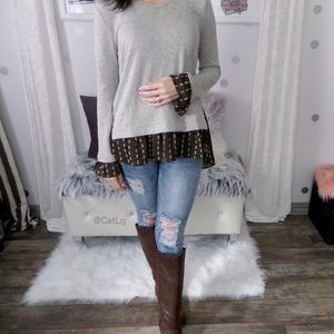 Ruffle Tunic Top with Feather Accents Long Sleeve