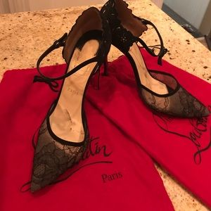 Louboutin Suede and Lace Mary Janes