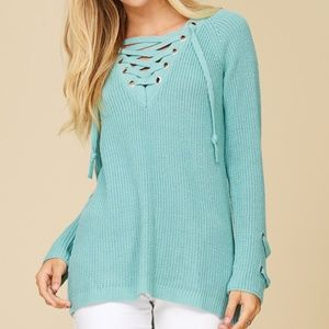 New Chunky Knit Sweater with Lace-up Neck Detail