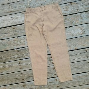 Zara Cuffed Linen Trousers in Tan