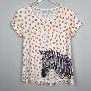 [Anthropologie] Postmark Zebra Polka Dot Tee Shirt