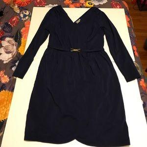 Navy Long-Sleeve Vintage-Style Faux Wrap Dress