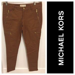 Michael Kors rust zipper trim skinny pants 8