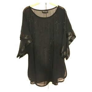 S.L. Fashions black beaded overlay