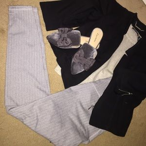 Old navy knit leggings grey and white