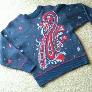 Vintage 50s Sweater Virgin Wool Abstract Peacock