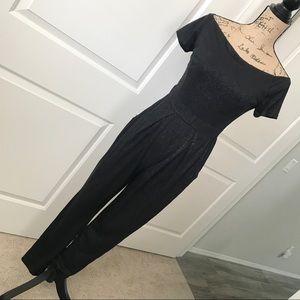 Pants - Sparkly black glitter women off shoulder jumpsuit