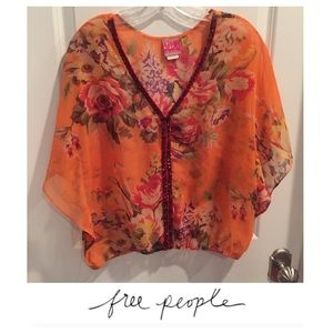 Free People Orange Floral Sheer Blouse
