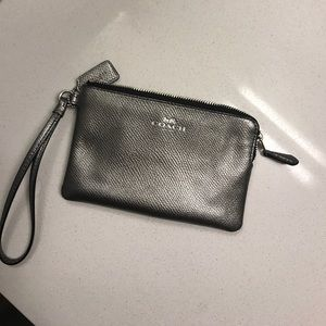 Silver coach wristlet w/ two credit card pockets