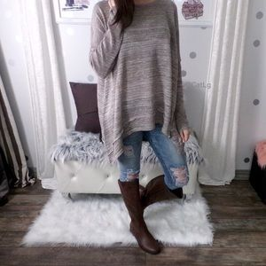 Loose Fit Long Sleeve Top in Brown Fall Shirts