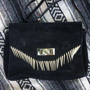 Zara Black Leather Studded Clutch | Crossbody