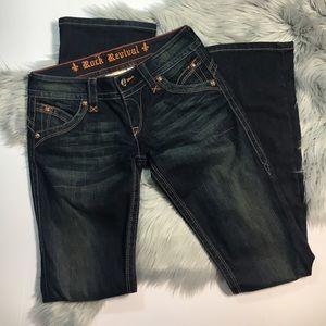 Rock revival boot cut indigo jeans 27
