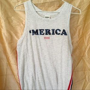 VS PINK Sequined muscle 'Merica tank with stripes