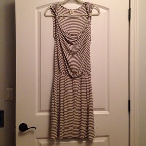 Anthropologie m navy and beige striped dress