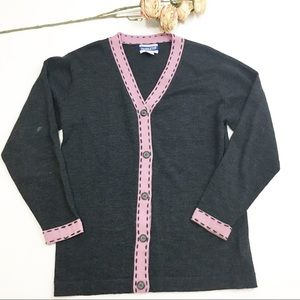 Pendleton 100% Wool Gray and Pink Cardigan