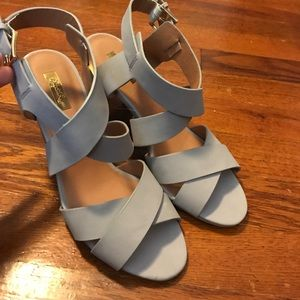 Qupid Light Gray Strappy Cone Heels - Size 7