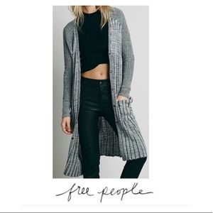 Free People Black & White Ribbed Duster Sweater