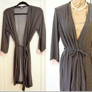 Other - Feminine black and pink polka dot robe