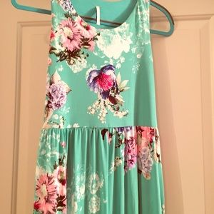 Floral aqua maxi dress