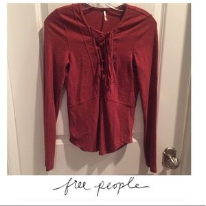 Free People Brick Red Lace Up Top