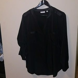 Leather trim black button down Ny&co large