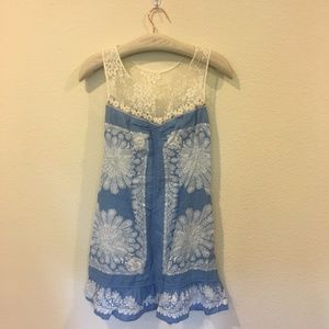 Free People blue and white lace and linen dress