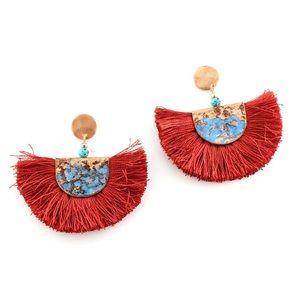 Semi shaped tassel earrings