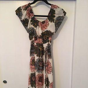 Floral off the shoulder maternity maxi dress