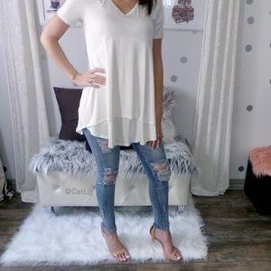 Ivory Short Sleeve Top Women's Tunic Tops Modal