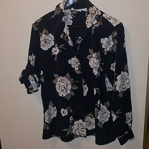 Alfred dunner size 14 botanical floral button down