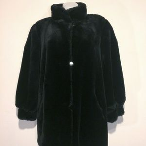 Reversible oversized black faux fur coat