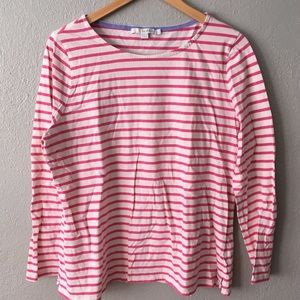 Boden Striped Pink and Cream Soft Longsleeve Tee