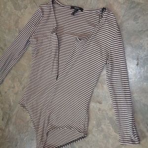 Forever 21 stripe ribbed zip sleeve bodysuit top M
