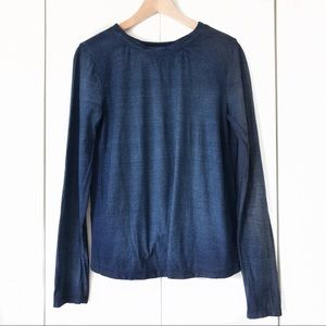 Cloth & Stone Blue Open Back Long Sleeve Top Sz S