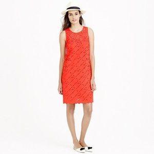 J. Crew // Laser cut blood orange shift dress 14