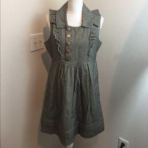 Tulle Anthropolgie Gray Ruffled Mini Dress