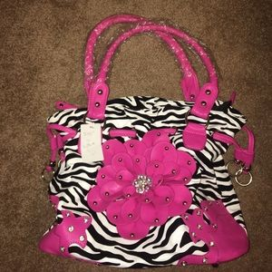 Pink and zebra print purse with wallet