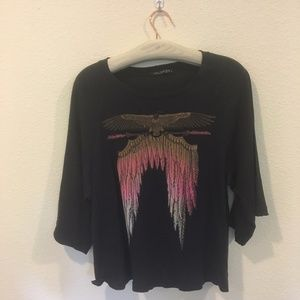 Wildfox gray eagle and feather tee