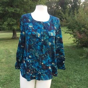 Anne Klein adjustable long sleeve top blue Small