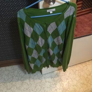 Green Argyle Cardigan