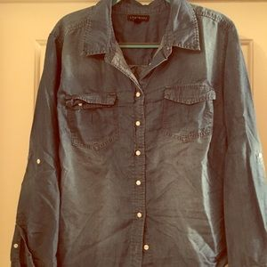 Chambray long sleeve button up shirt