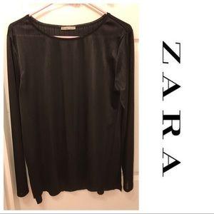 Zara Basics Black Vertical Striped Top
