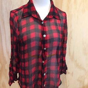 About a girl / Los Angeles Sheer plaid top