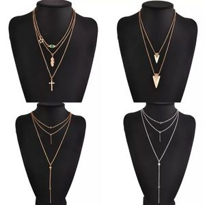 THREE TIER SILVER OR GOLD NECKLACE W/HANGING CHAIN